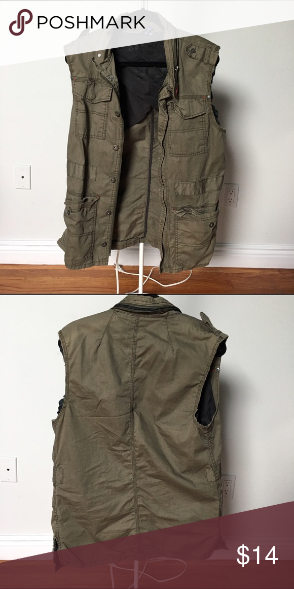 Oversized utility vest Sleeves cut off from jacket to make vest. Divided Jackets & Coats Vests