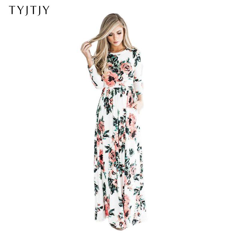 a6aa2d6af70d8 comprar 2018 verano vestido Floral impresión Boho Vestido de playa vestido  Maxi vestido mujeres vestido de fiesta Vestidos de festa XXXL