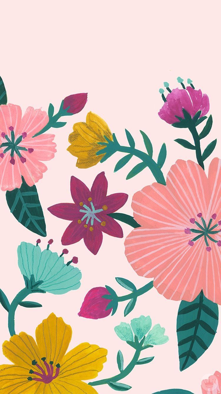 Floral pattern bold colors Floral wallpaper, Flower