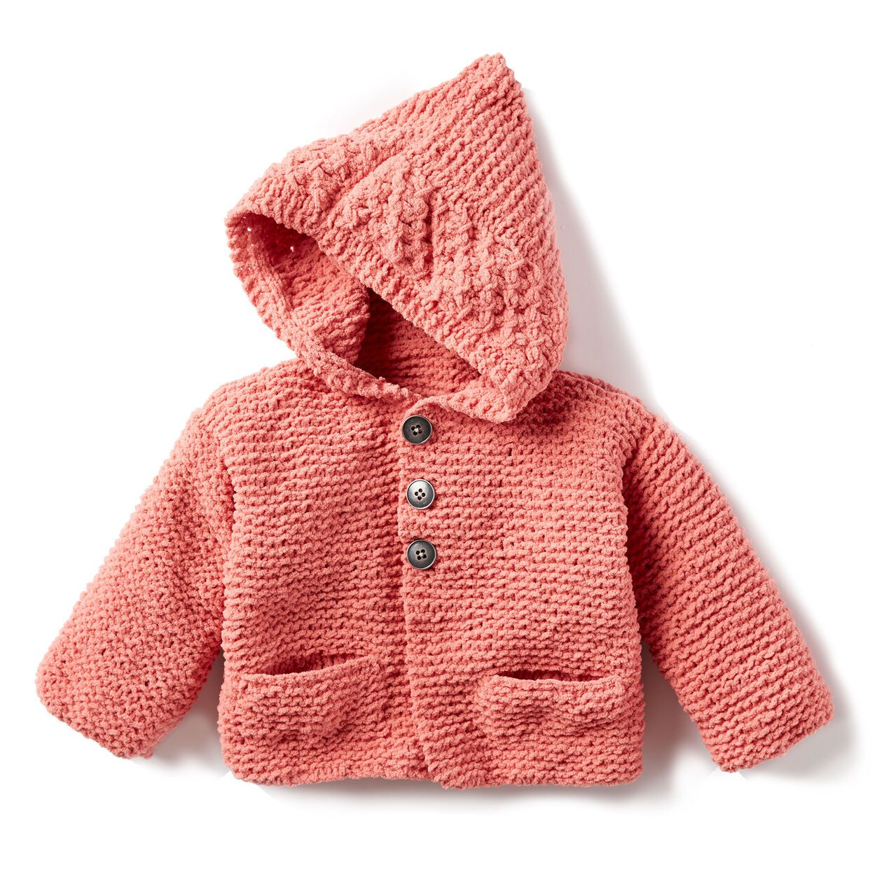 Bernat In The Details Knit Hoodie, 6 mos in color in 2020