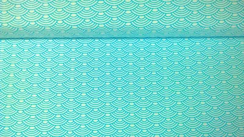 Jersey Jerseystoff Wellen weiss türkisblau