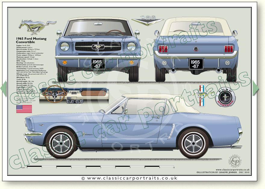 Ford Mustang 289 Convertible 1965-67 classic car portrait print