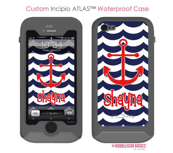Waterproof Custom Navy Blue Red Anchor - #Monogram Personalized INCIPIO ATLAS iPhone 5 5s Samsung Galaxy S4 #Case by iselltshirts