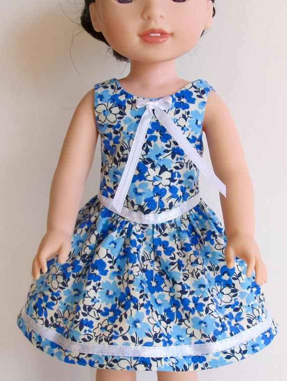 Dainty blue floral dress and shoes by MarysPintsizedPieces on Etsy ...