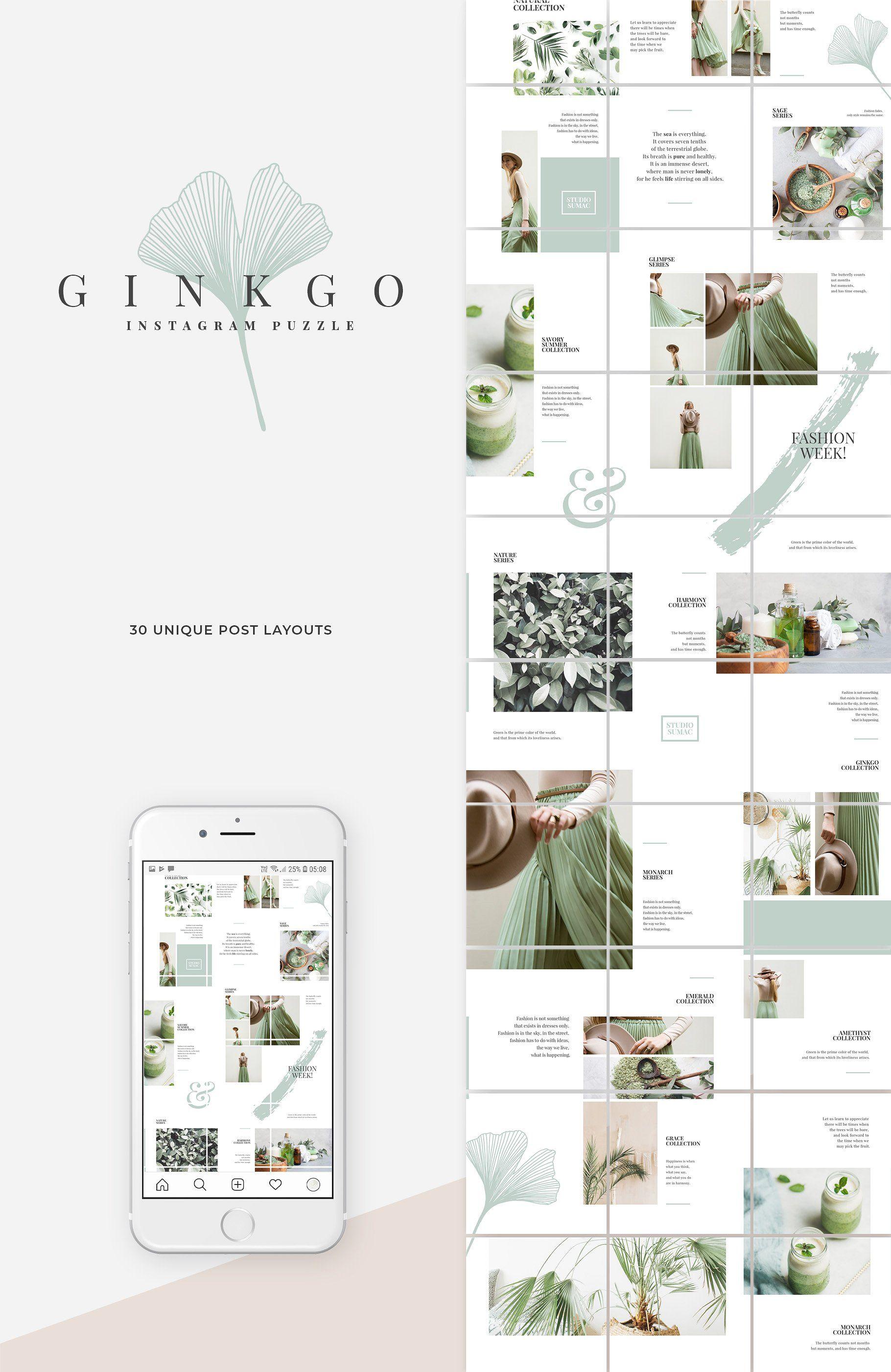 Ginkgo Instagram Puzzle Template Dizajn Lentami Setka Dizajn