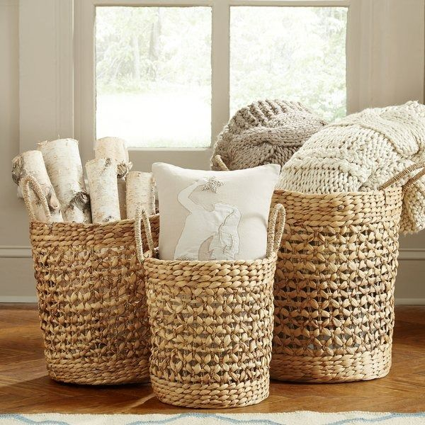 Fairport Seagrass 3 Piece Wicker Basket Set Living Room Blanket Wicker Baskets Small Apartment Decorating