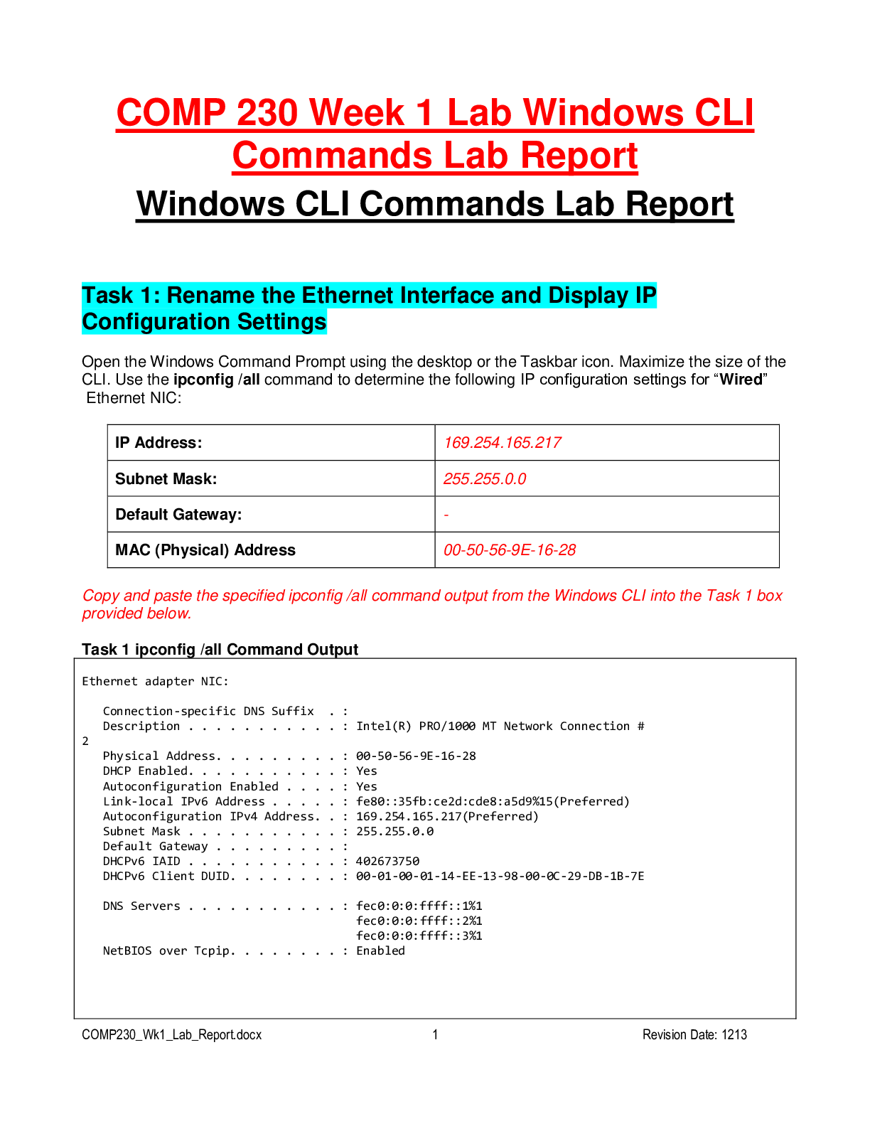 Comp 230 Week 1 Lab Windows Cli Commands Lab Report Latest Version Updated In 2020 Lab Report Command Lab