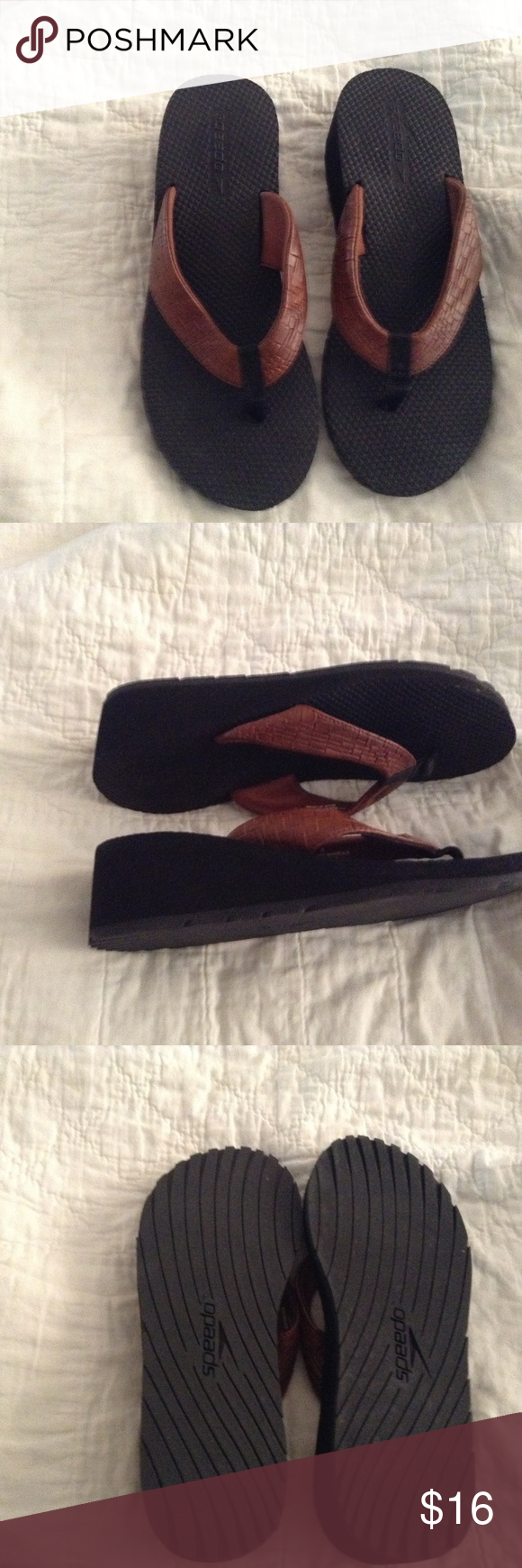 7d0a7128ed75f8 Speedo Thong Shoes NWOT Speedo thong flip flop shoes. Size 8. Never worn  outside. Cute wedge heel. Speedo Shoes Sandals