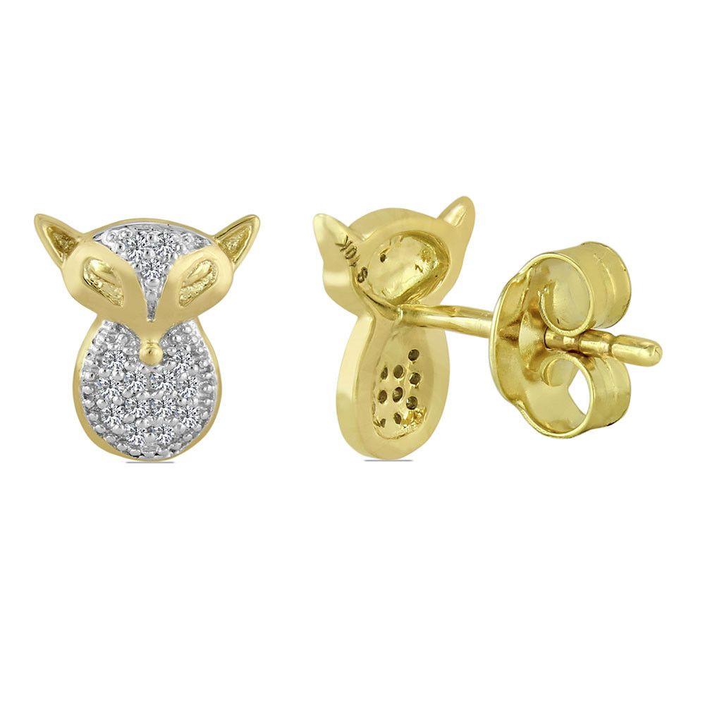 Hello kitty 10k solid yellow gold round cut diamonds push back ...