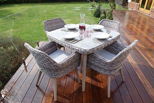 Montpellier Rattan Garden Furniture 4 Seater Square Dining Set