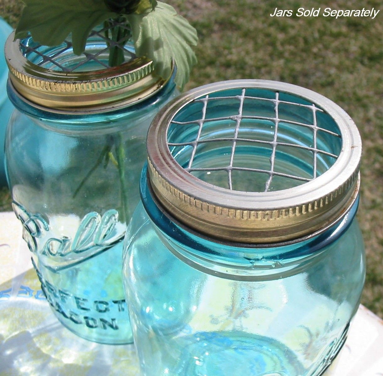 Mason Jar Vase Flower Frog Lid Antique Blue Mason Jars, Ball Zinc ...