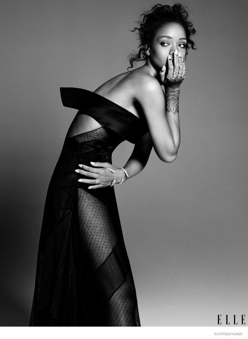 Rihanna poses in haute couture for elle december 2014 for Haute couture photoshoot
