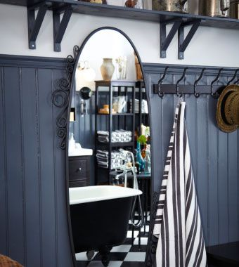 EKNE miroir ovale et HJÄLMAREN porte-serviettes avec 5 crochets