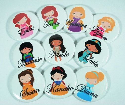15 Personalized DISNEY PRINCESS Mirrors, Pinback Buttons, Magnets, Bottle Openers, Bachelorette, Bridesmaid Favor, Birthday Party Favor