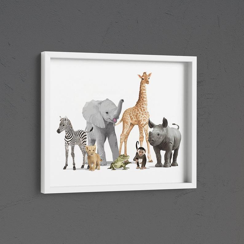 Jungle Nursery Art Print Baby Animal Poster Zoo Animals Etsy Baby Room Artwork Jungle Nursery Art Baby Animal Nursery Art