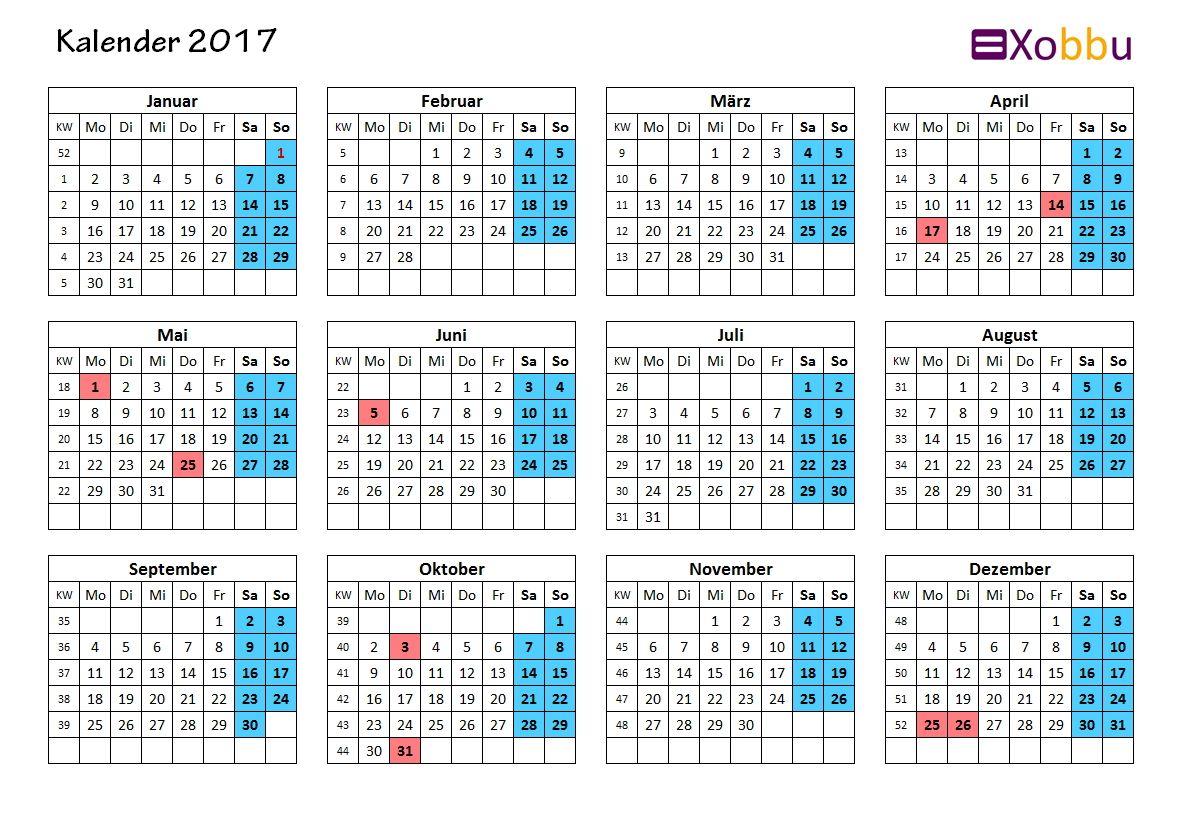Kalendervorlage ganzes Jahr 2017 Excel PDF #vorlage #xobbu ...
