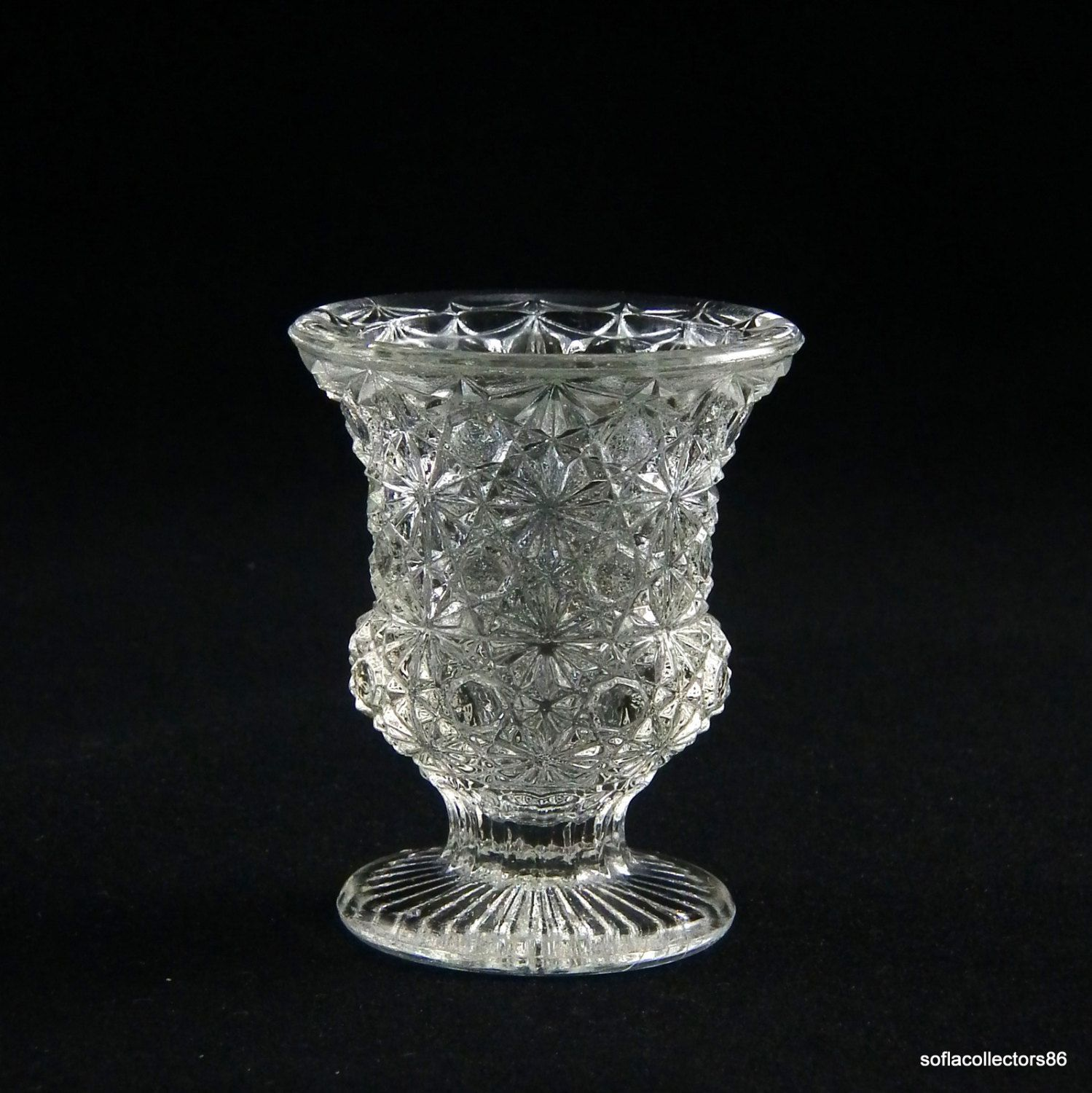 Toothpick Holder in Crystal Daisy and Button Pattern - Vintage - 1950s - 1960s by soflacollectors86 on Etsy