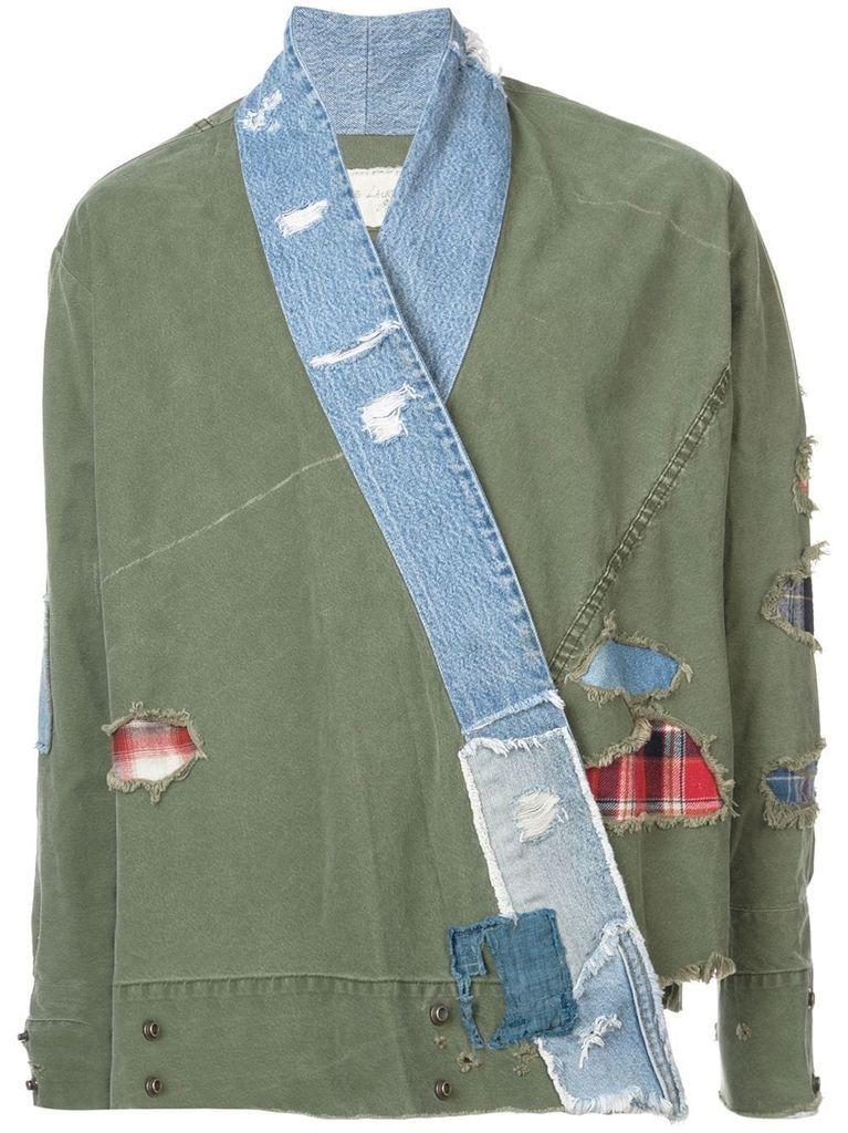 55dbd8e50 Greg lauren men army tent / vintage denim stripe kimono studio