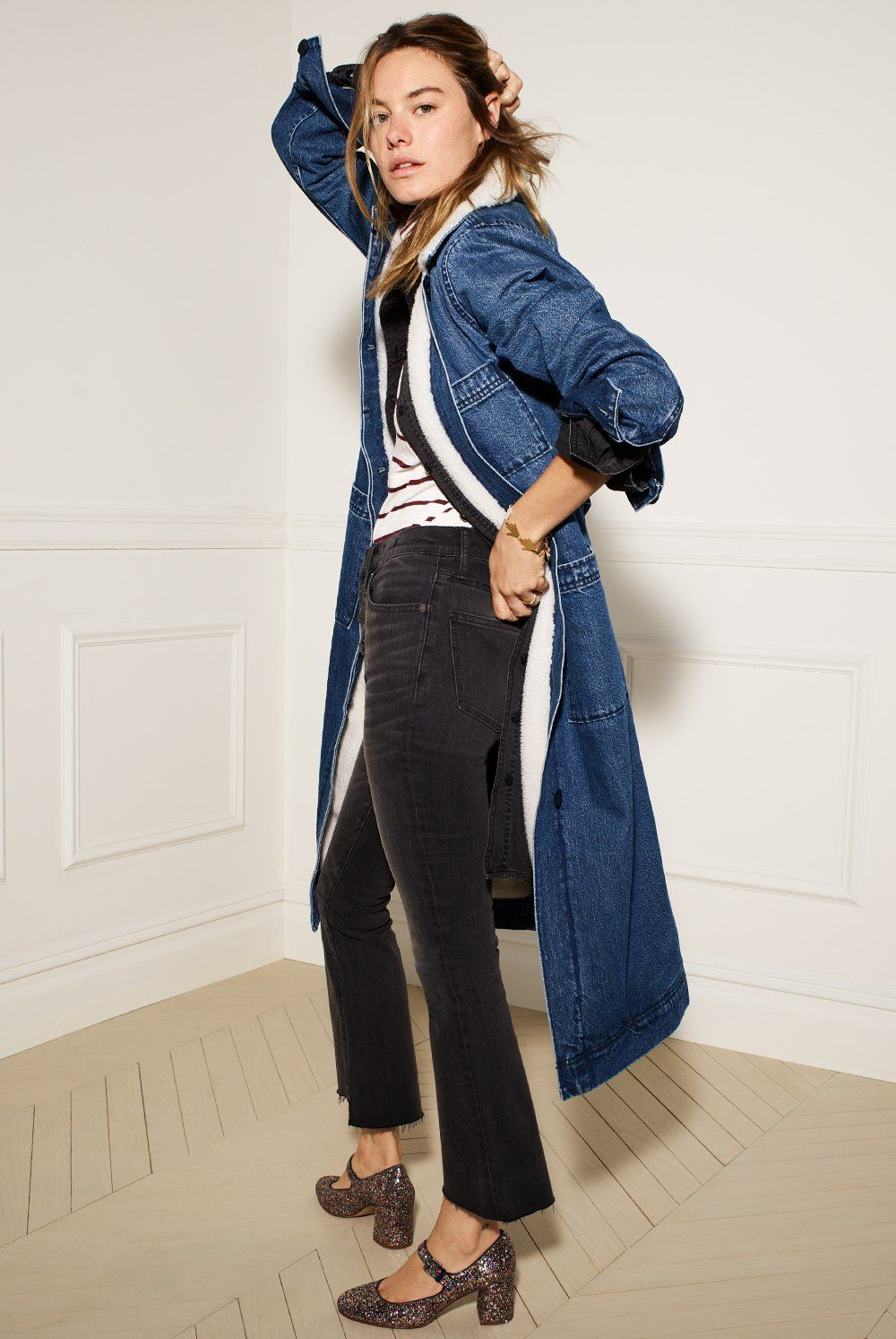 a630dd51edec madewell cali demi-boot jeans worn with the zelda mary jane + denim duster  coat.