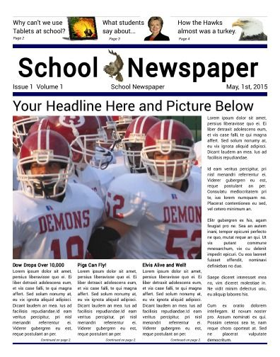 School Front Page, 4 Column