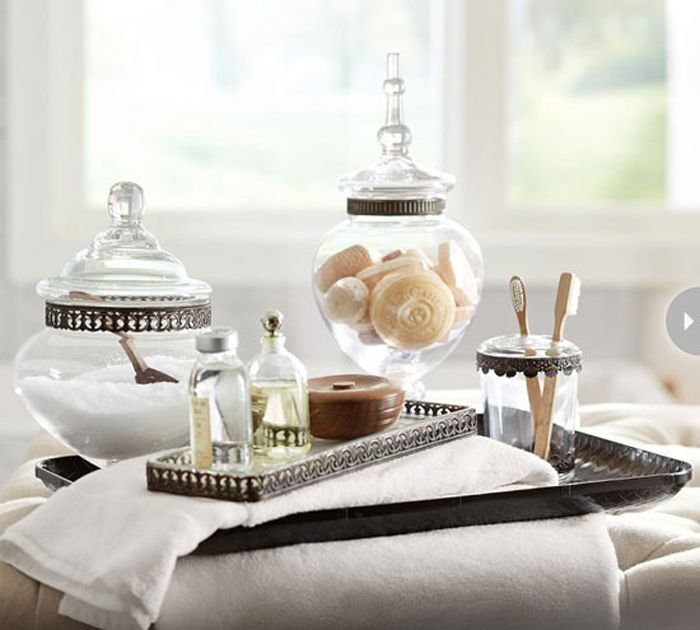 Filigree Bath Accessories By Pottery Barn: Vintage Inspired Antique Bronze  And Glass Bathroom Accessories.
