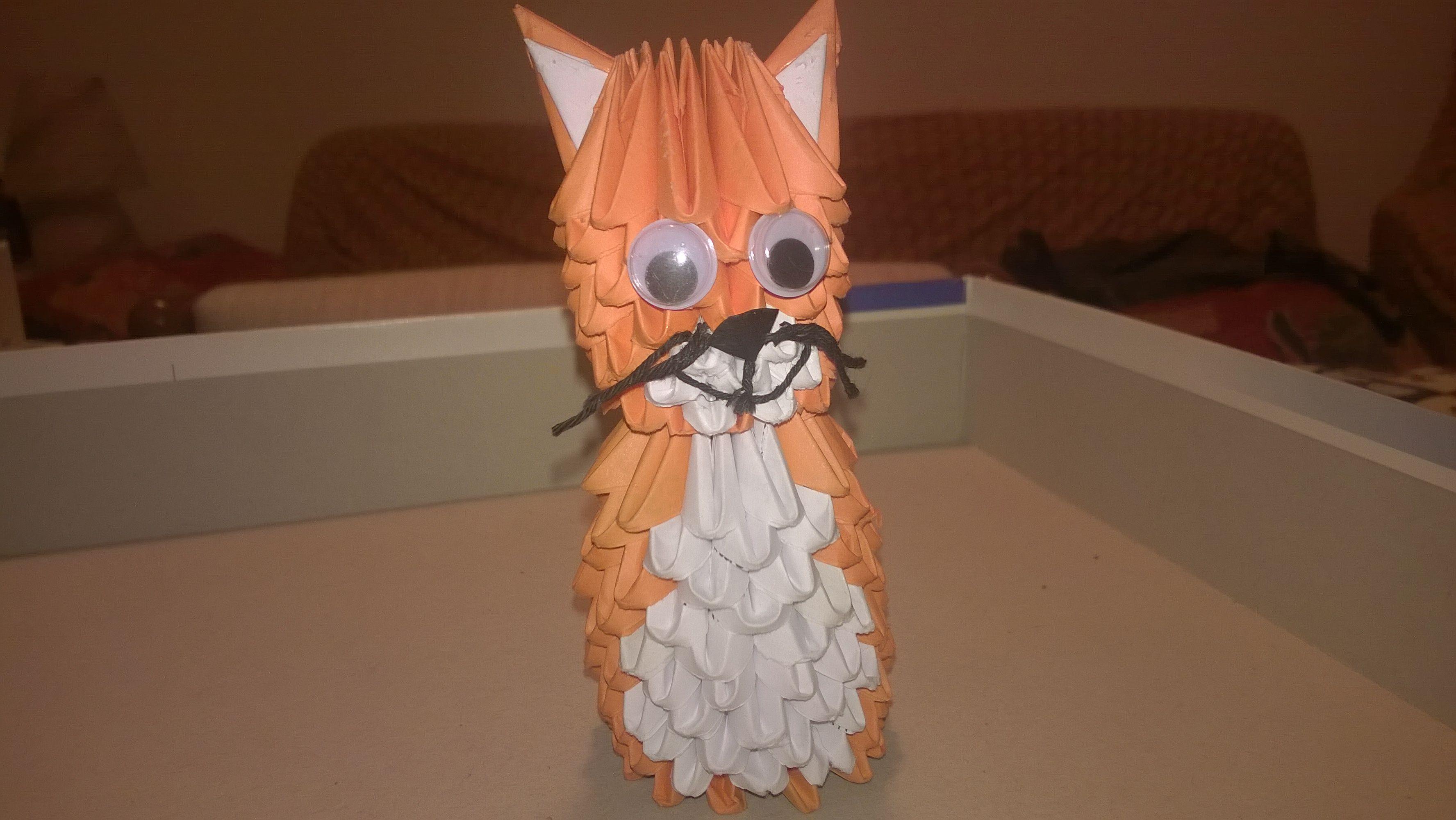 3d origami gatto fatto da me pinterest 3d origami 3d origami gatto jeuxipadfo Images