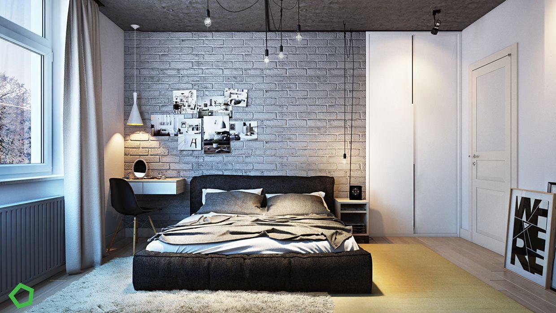 Fabulous Bedroom Design With Brick Wall Decor Visit Roohome Com Bed Bedroom Design Decoration Bedroom Design Modern Bedroom Modern Bedroom Design