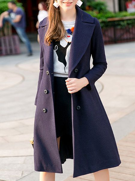 Navy Blue Lapel Buttoned A-line Solid Long Sleeve Coat