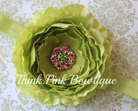 Tiny Home Designs: Lime Green Shabby Chic Headband