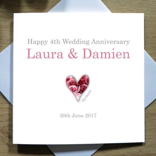 Details About Personalised Handmade 4th Wedding Anniversary Card