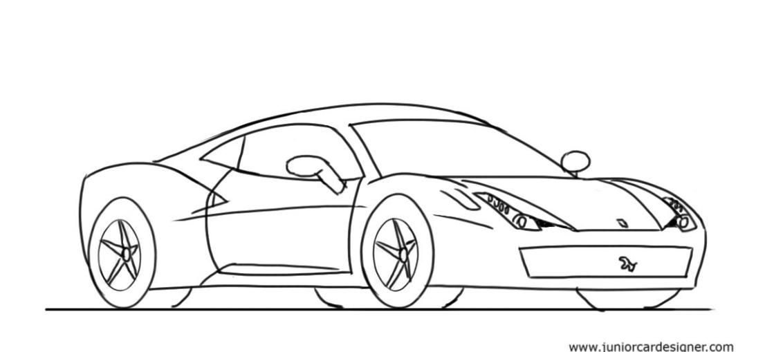 How To Draw A Car For Kids Ferrari 458