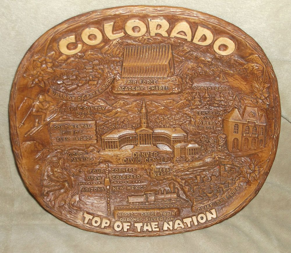 Colorado syroco souvenir platter, by TACO, 1950s or 60s, Top of the Nation