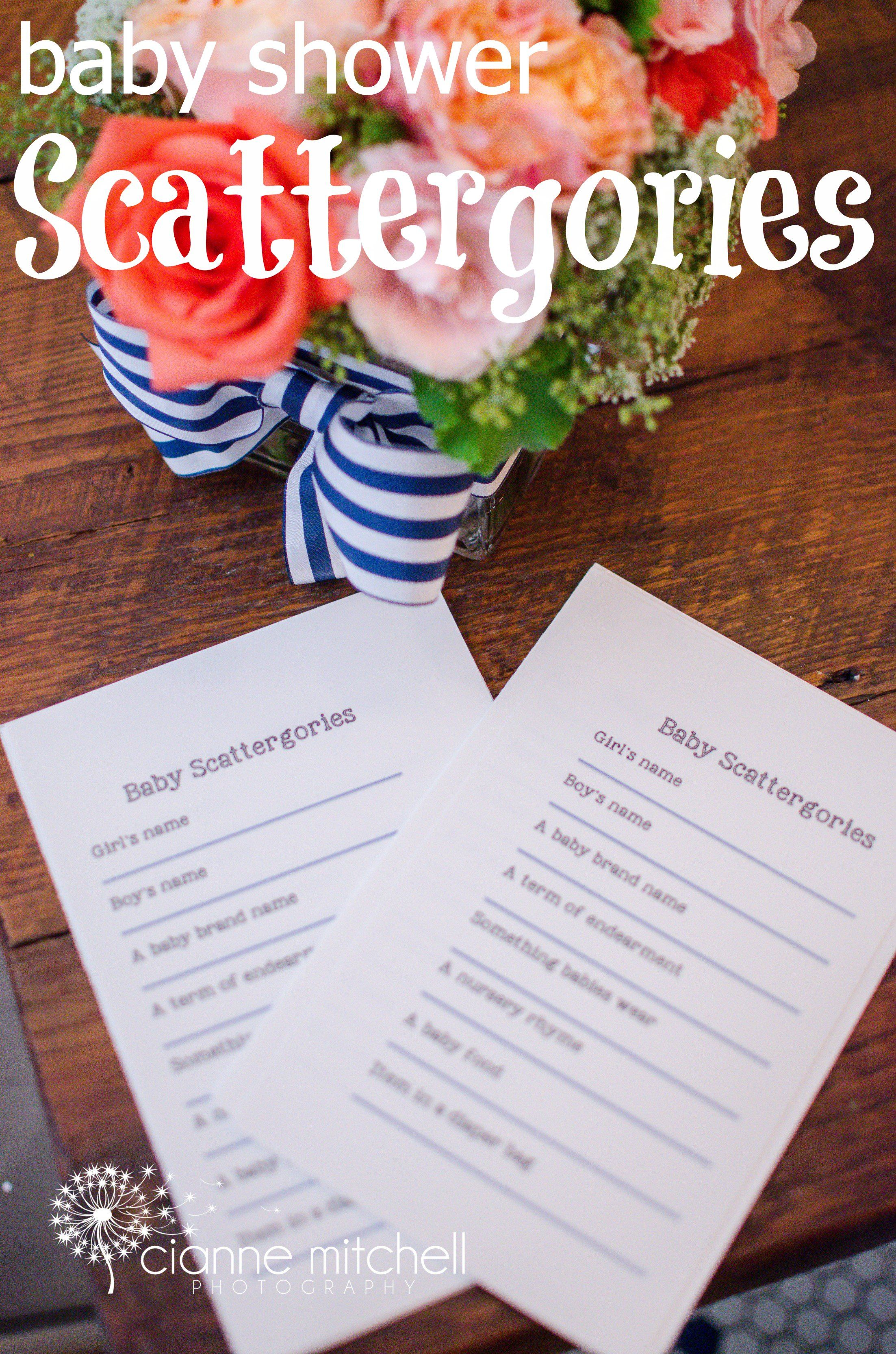 Baby Shower Scattergories Free Printable Game Use the baby s