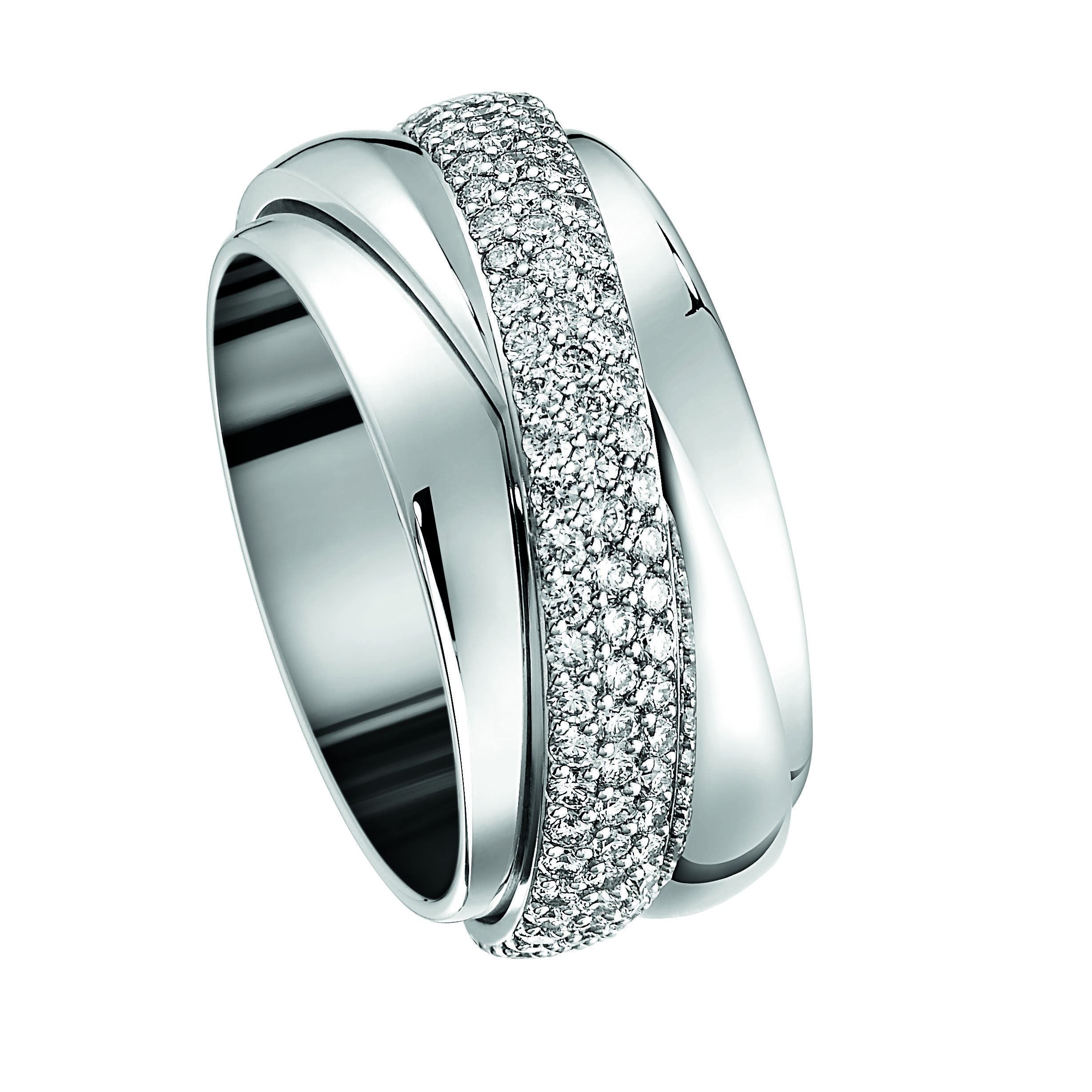Piaget Possession Entrelacée.   18-carat white gold ring set with 147 brilliant-cut diamonds