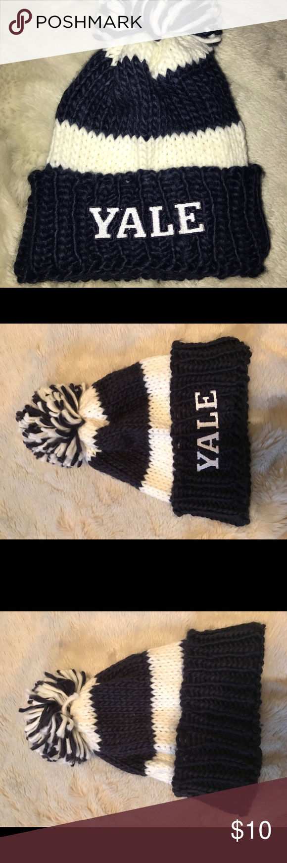 95a72cde415 Yale Pom Pom beanie hat Yale Pom Pom snow beanie hat from Forever 21.  Bought new