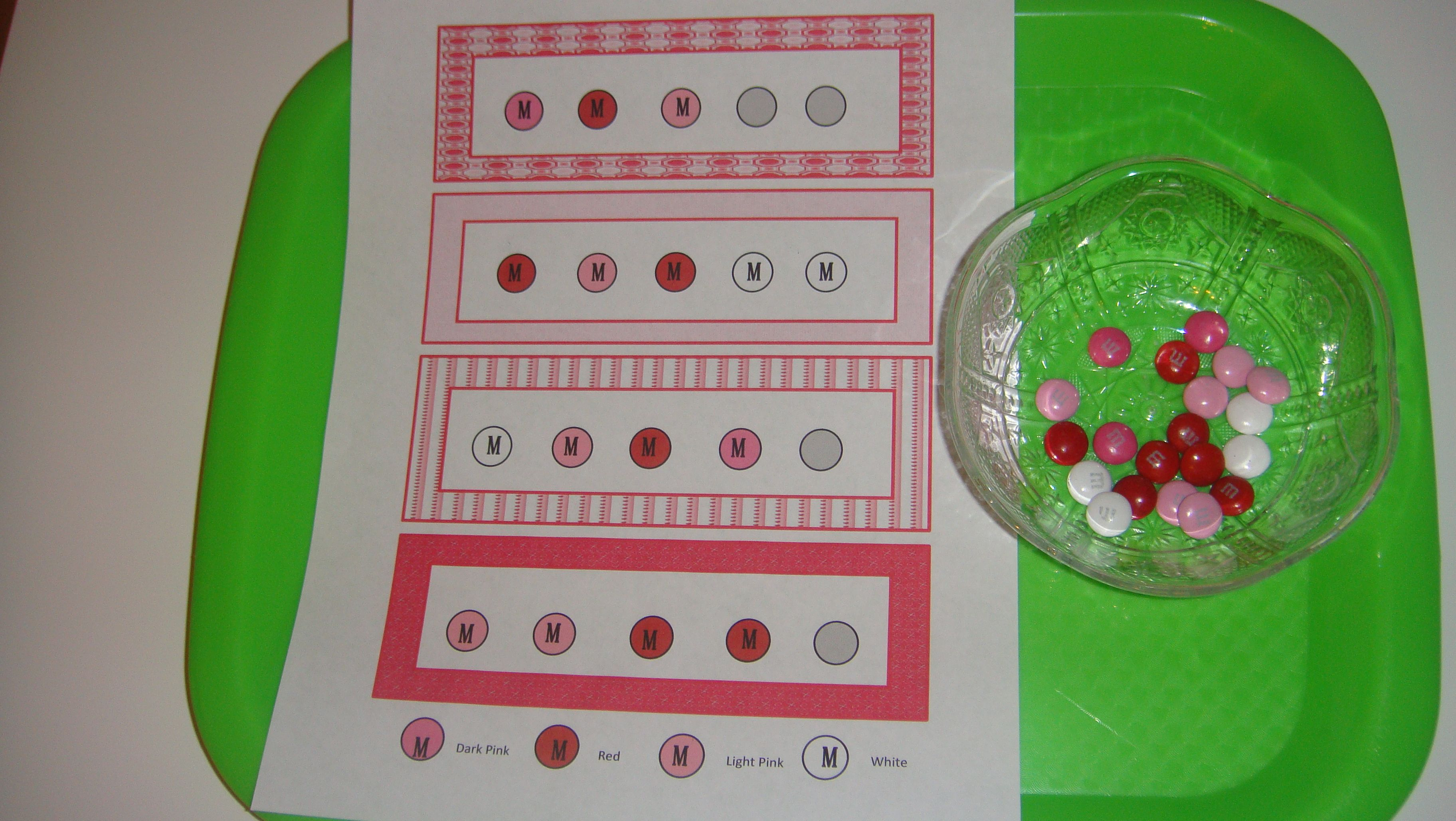 Toddler School Tray Valentine S M Amp S Color Matching