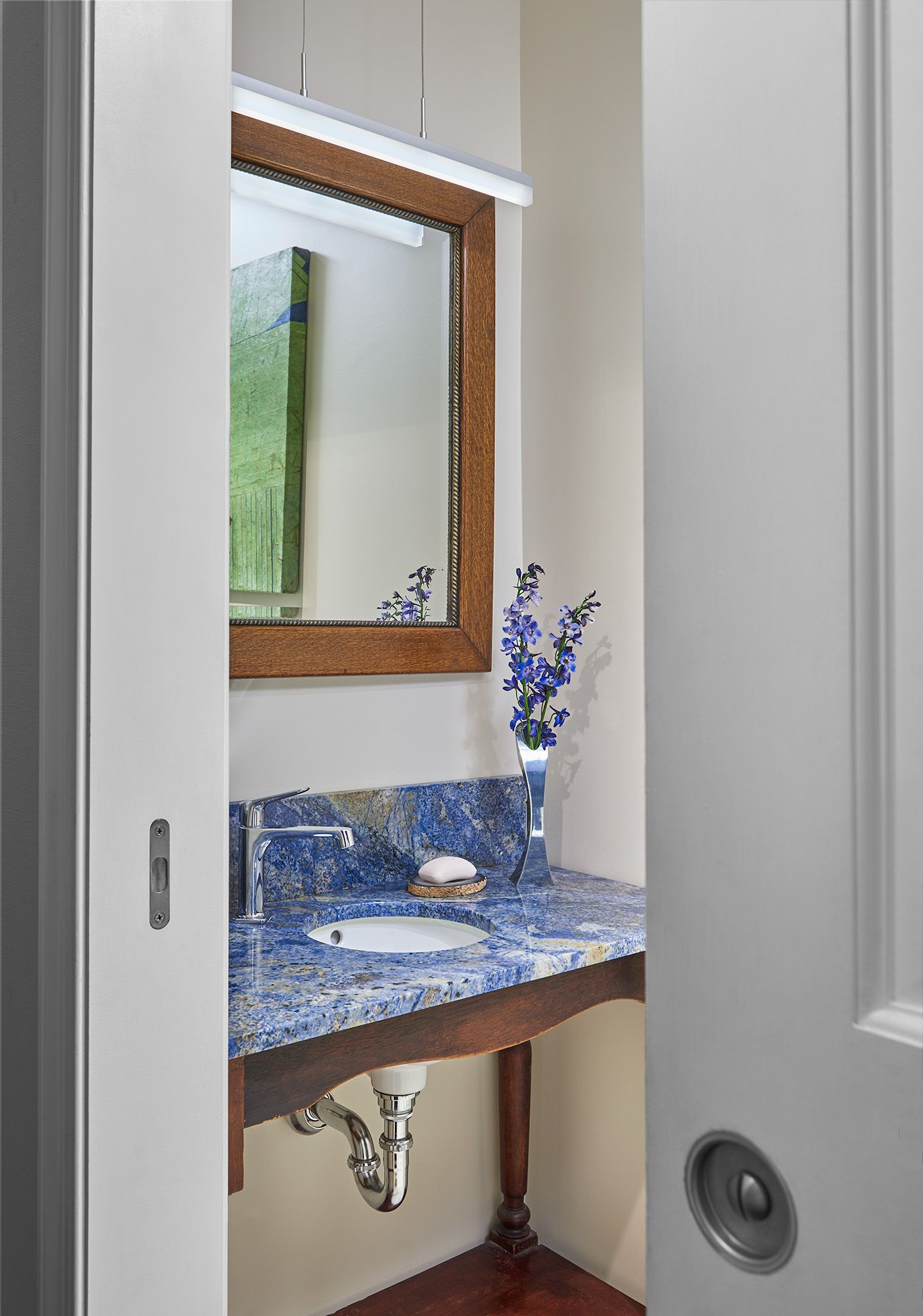 BLUE BEAUTY The Guest Hall Bathreconstructed Into A Smaller Powder - Bathroom remodeling dc area