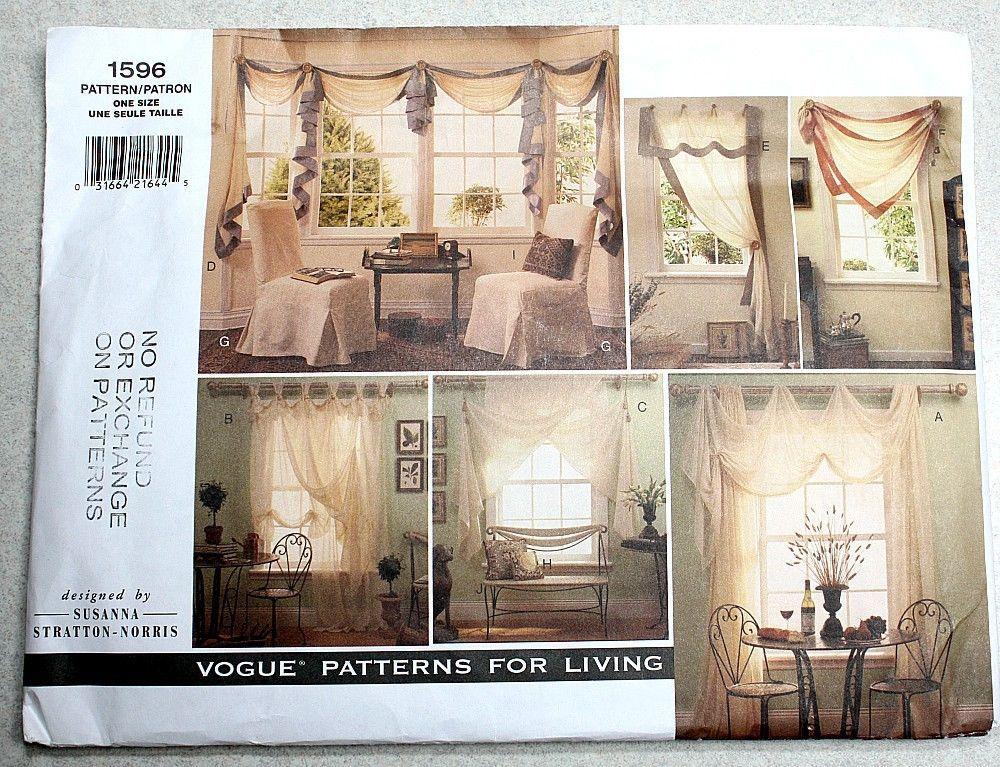 VOGUE Sewing Pattern Curtains Drapes Valance / Scarf Swag / Jabot ...