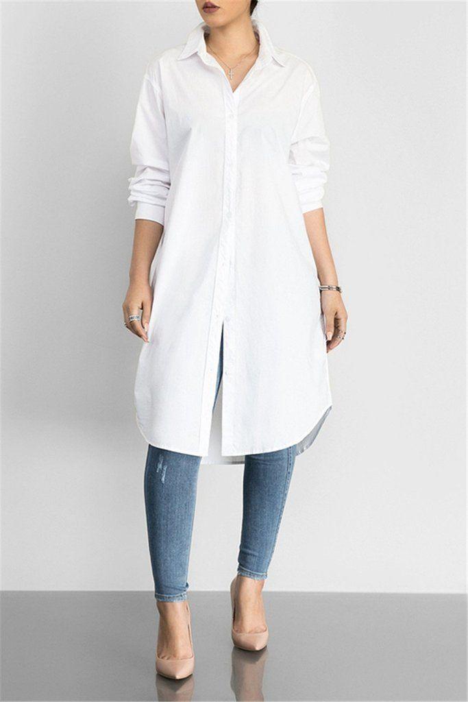 2e8e1fb025e Solid Color Long Sleeve Lapel Dress – WHATWEARS