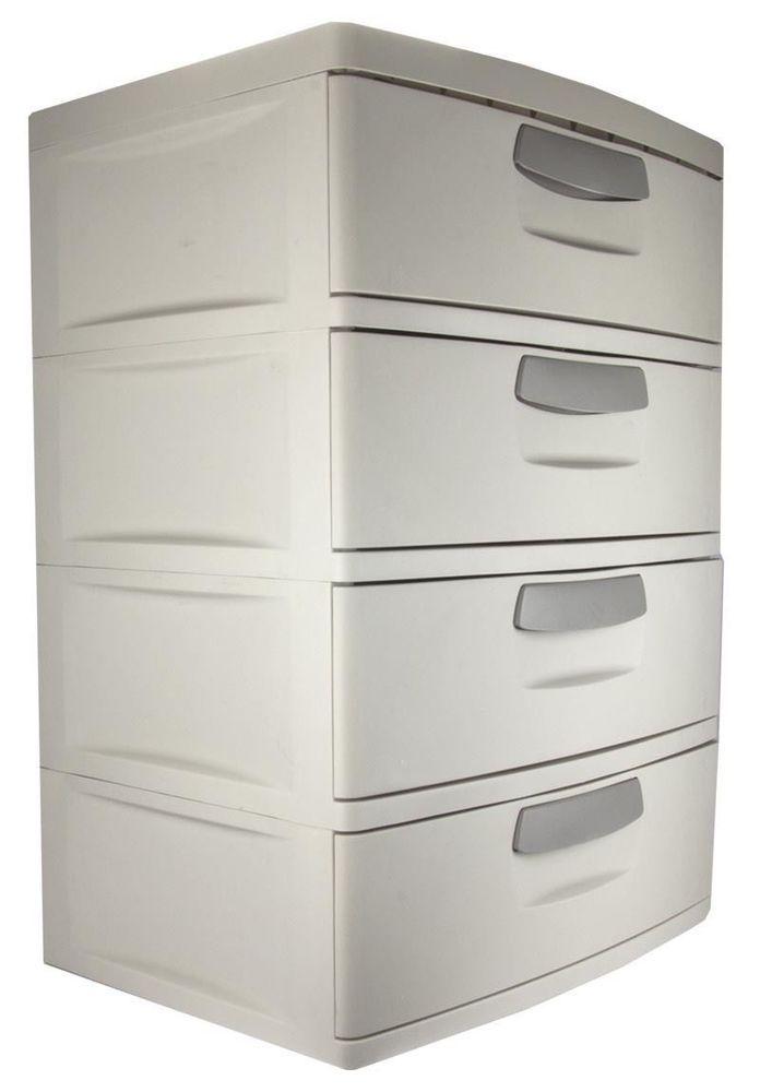 Plastic 4 Drawer Cabinet Storage Organizer Home Office Garage Shop