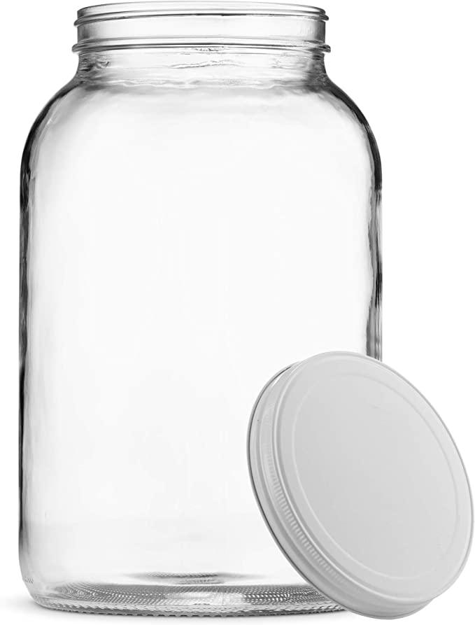 Amazon Com Paksh Novelty 1 Gallon Glass Jar Wide Mouth With Airtight Metal Lid Usda Approved Bpa Fr Gallon Glass Jars Wide Mouth Glass Jars Large Mason Jars