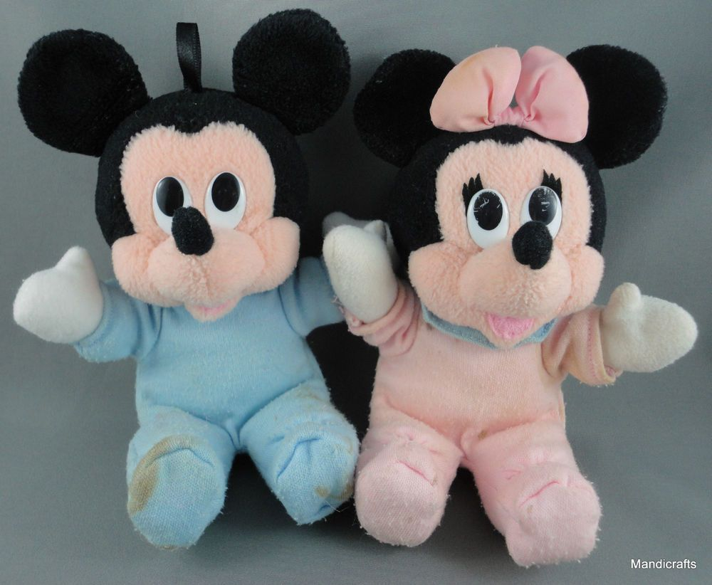 Predownload: Disney Baby Mickey Minnie Mouse Squeaker Rattle Soft Doll Plush Toy Romper Vtg Baby Mickey Minnie Soft Dolls [ 822 x 1000 Pixel ]