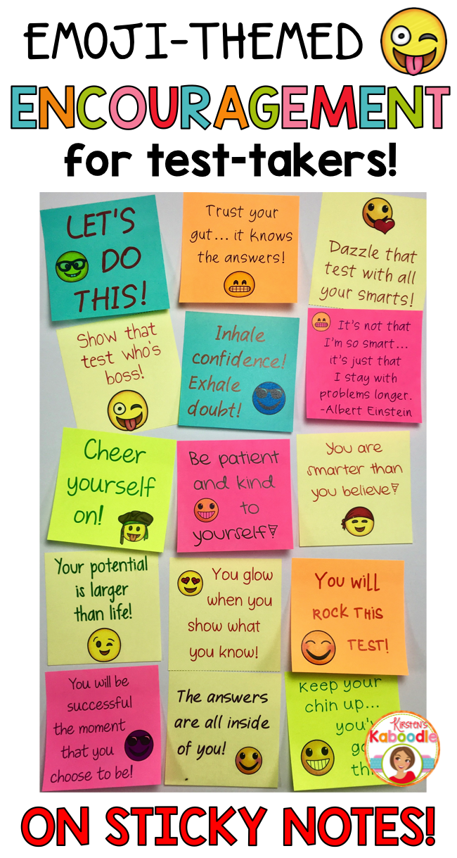 Notes of Encouragement for Test Taking - Emoji Themed ...