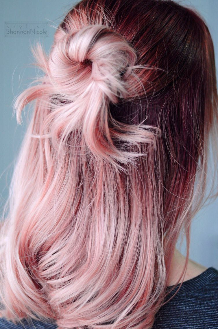 Another gorgeous rose gold hair color for Sarah! We did a deep raspberry red…