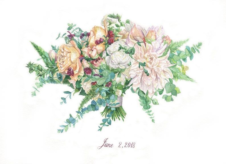 Custom Wedding Bouquet Painting Watercolor Personalized Wedding