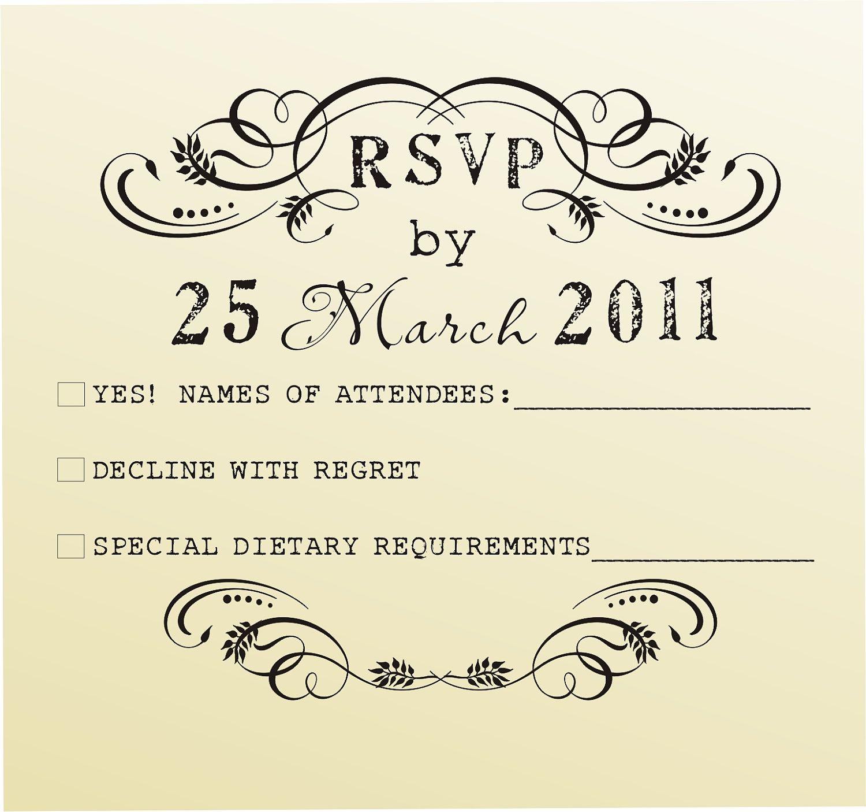 Rsvp Rubber Stamp For Custom Diy Wedding Invitations Style 6020rsvp Stationary