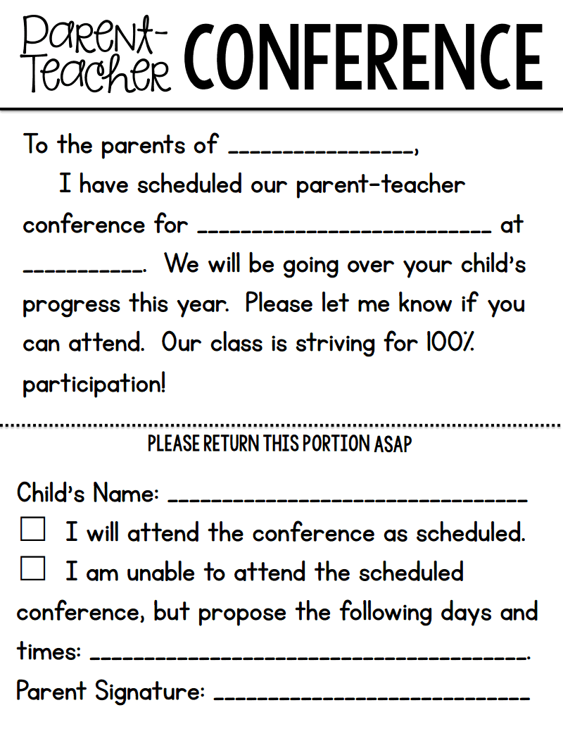 ParentTeacher Conference Forms From A Teachable TeacherPdf