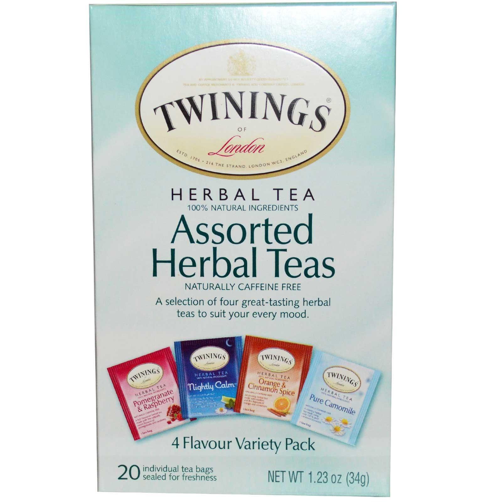 twinings assorted herbal teas variety pack caffeine free 20 tea