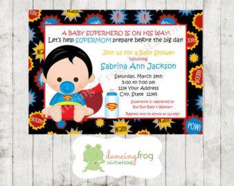 Custom Printed Superhero Baby Shower Invitations by PMCInvitations