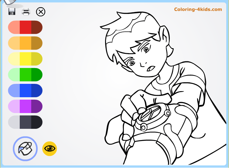 Ben Ten With Clock Coloring Pages Online From Cartoons
